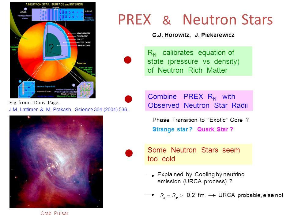 PREX & Neutron Stars C.J. Horowitz, J. Piekarewicz. RN calibrates equation of state (pressure vs density) of Neutron Rich Matter.