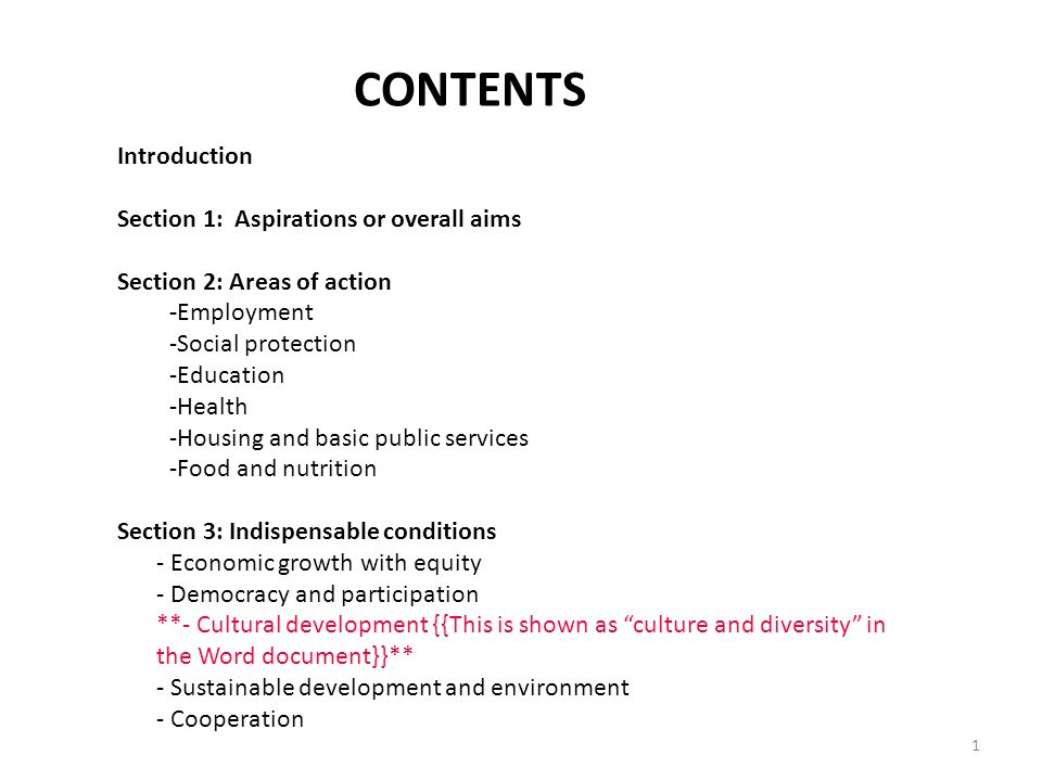 CONTENTS Introduction Section 1: Aspirations or overall aims