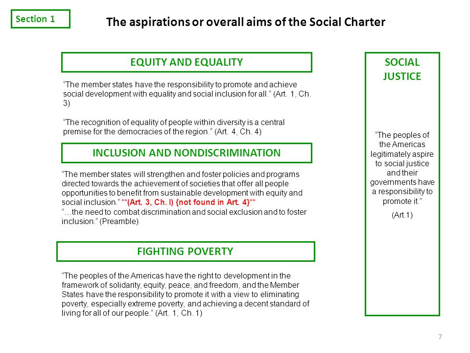 The aspirations or overall aims of the Social Charter