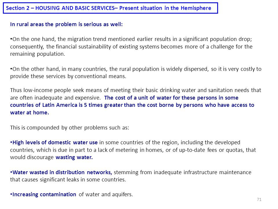 Section 2 – HOUSING AND BASIC SERVICES– Present situation in the Hemisphere