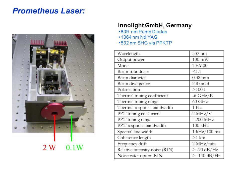 Prometheus Laser: 2 W 0.1W Innolight GmbH, Germany ▪809 nm Pump Diodes