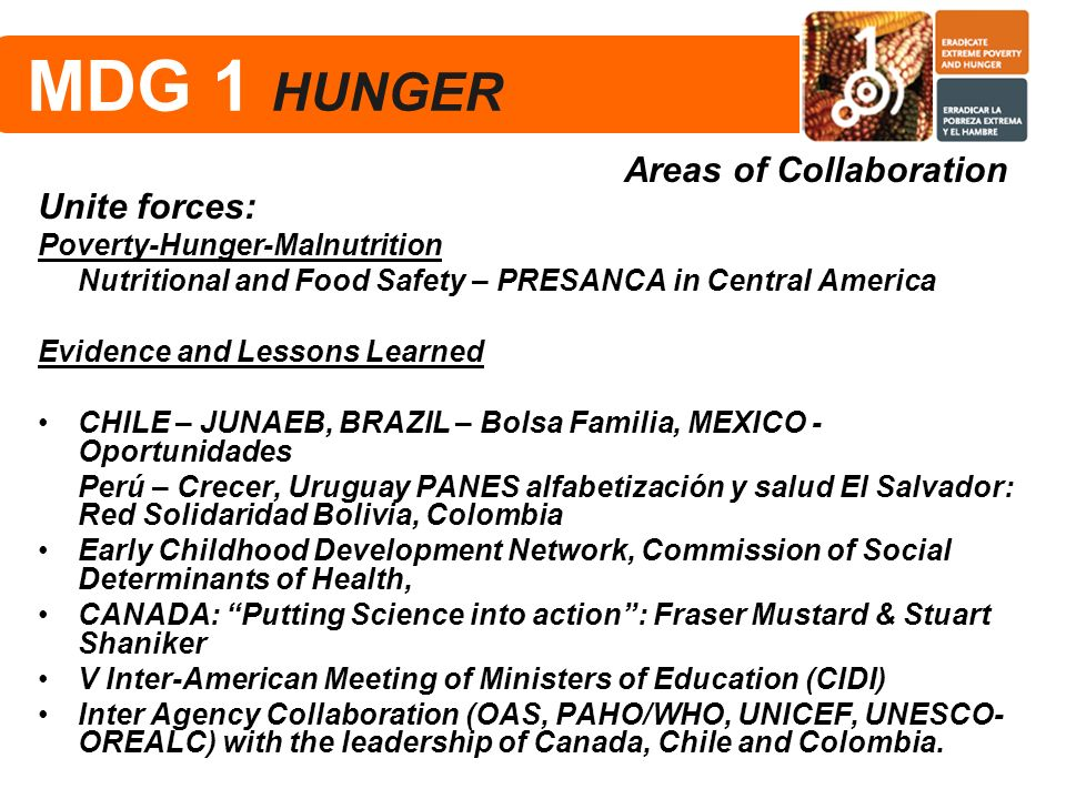 MDG 1 HUNGER Areas of Collaboration Unite forces:
