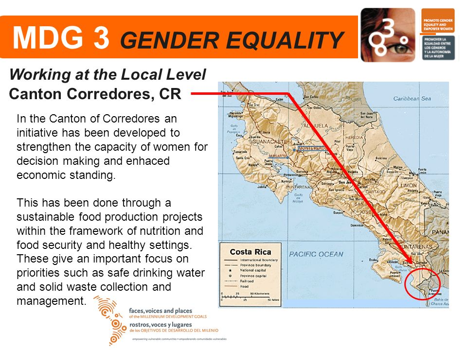 MDG 3 GENDER EQUALITY Working at the Local Level Canton Corredores, CR