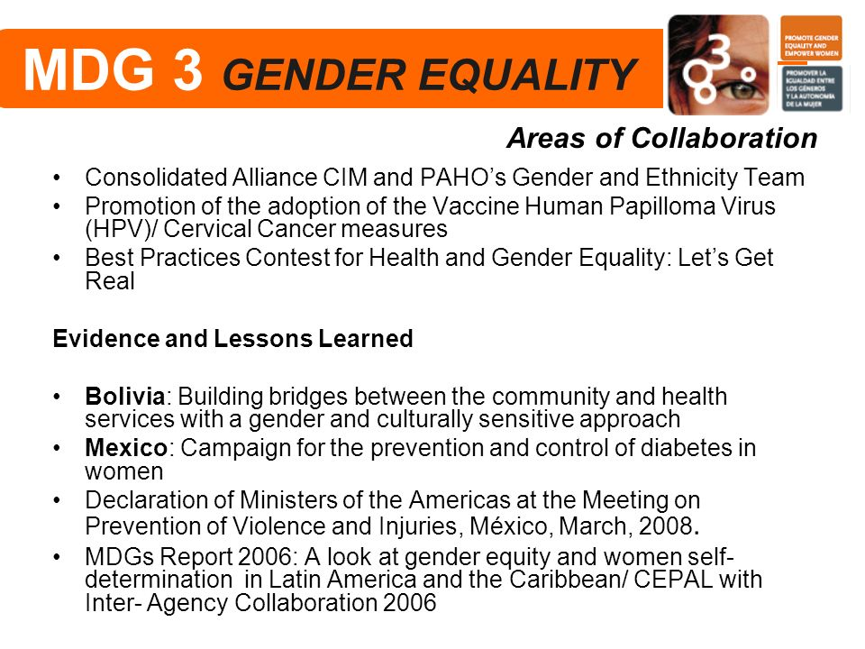 MDG 3 GENDER EQUALITY Areas of Collaboration