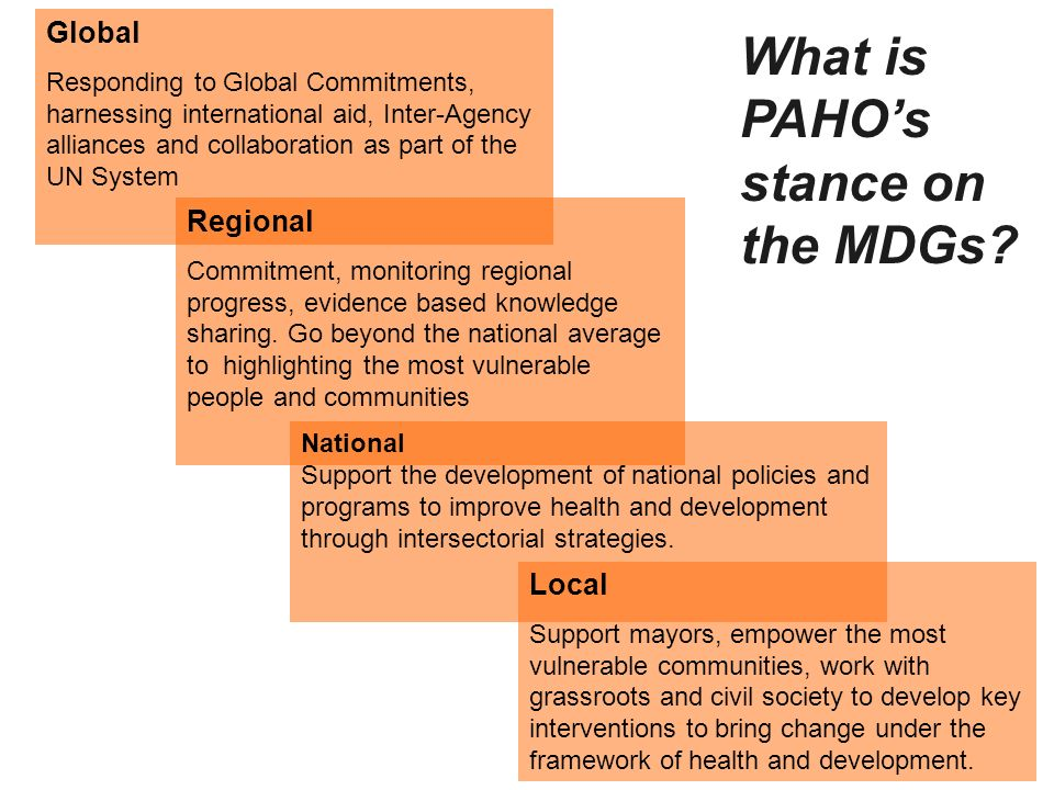 What is PAHO's stance on the MDGs