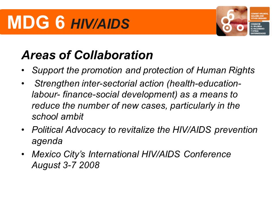 MDG 6 HIV/AIDS Areas of Collaboration