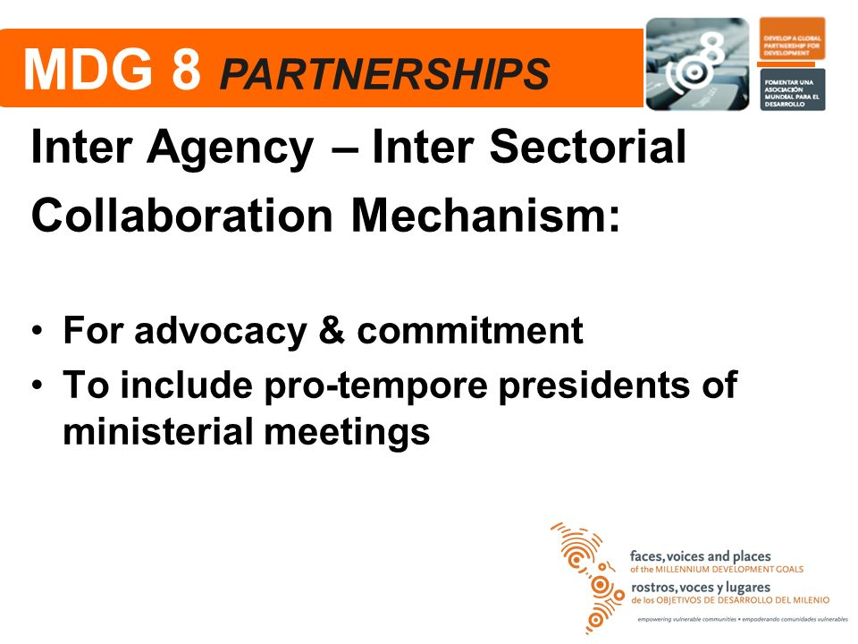 MDG 8 PARTNERSHIPS Inter Agency – Inter Sectorial