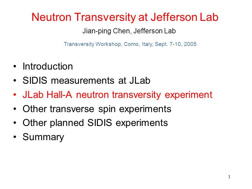 Neutron Transversity at Jefferson Lab