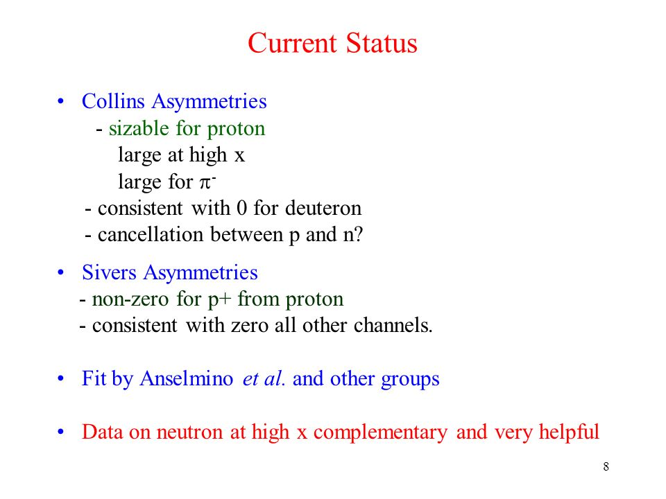 Current Status Collins Asymmetries - sizable for proton