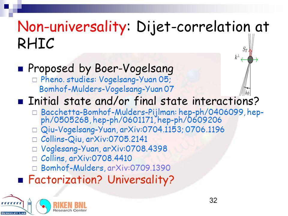 Non-universality: Dijet-correlation at RHIC