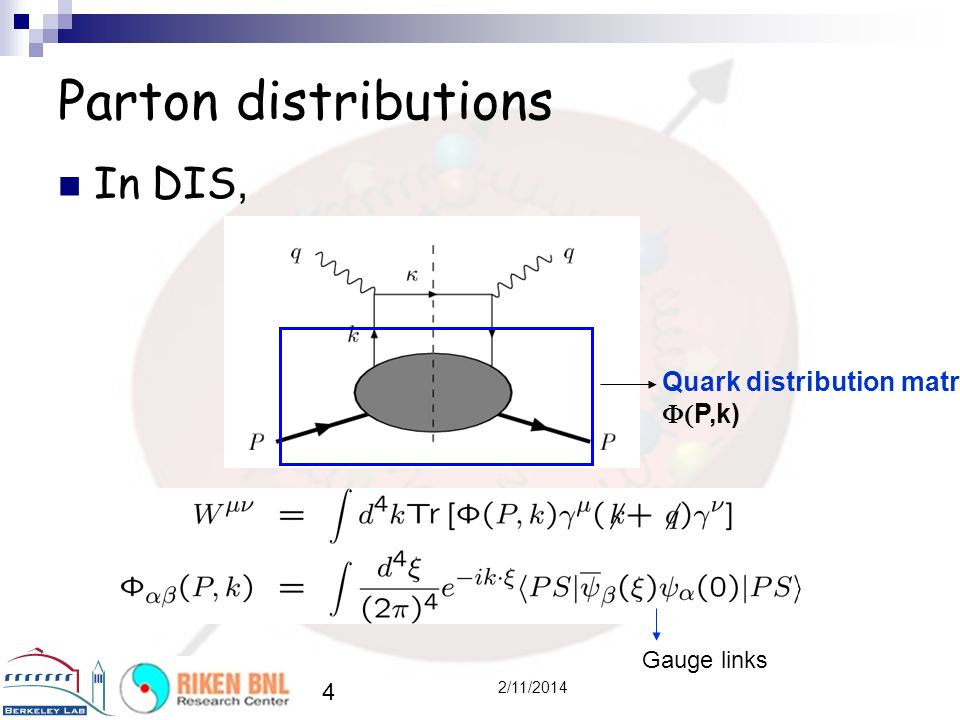 Parton distributions In DIS, Quark distribution matrix (P,k)