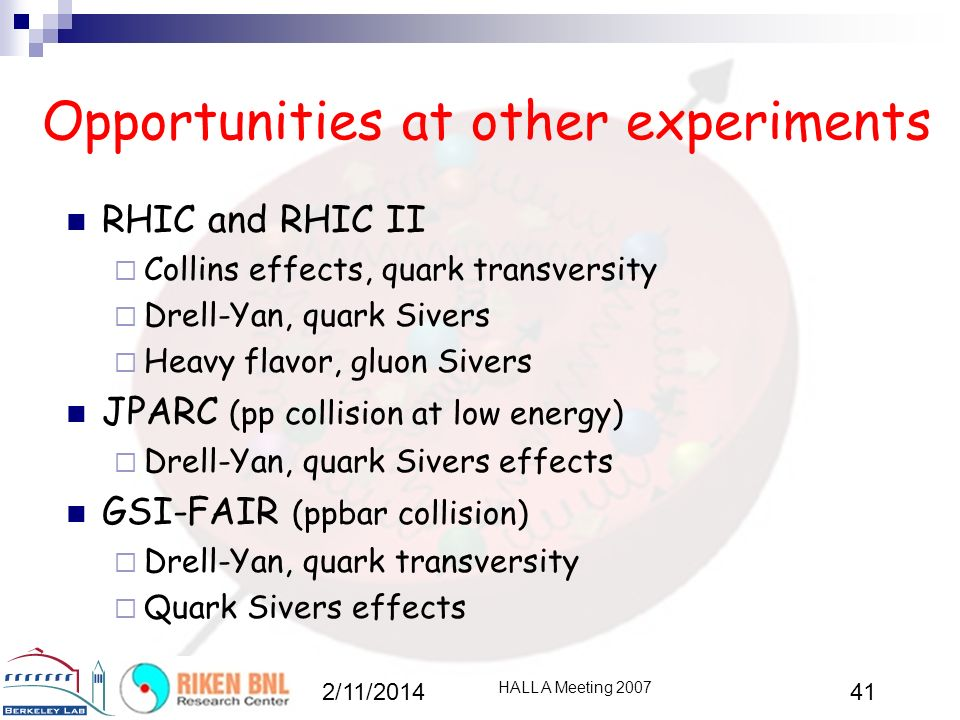 Opportunities at other experiments