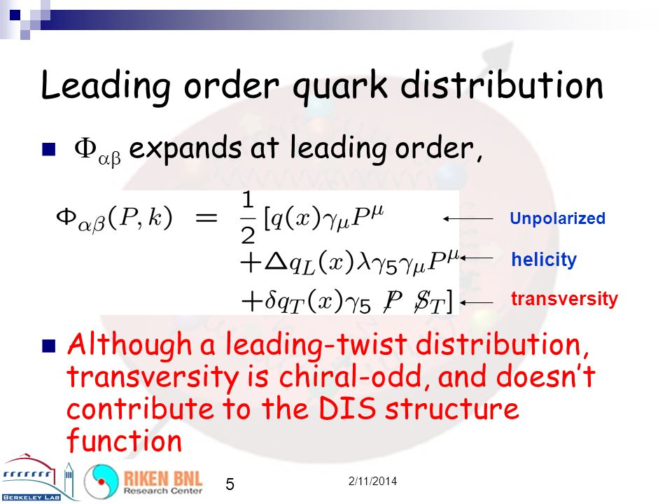 Leading order quark distribution