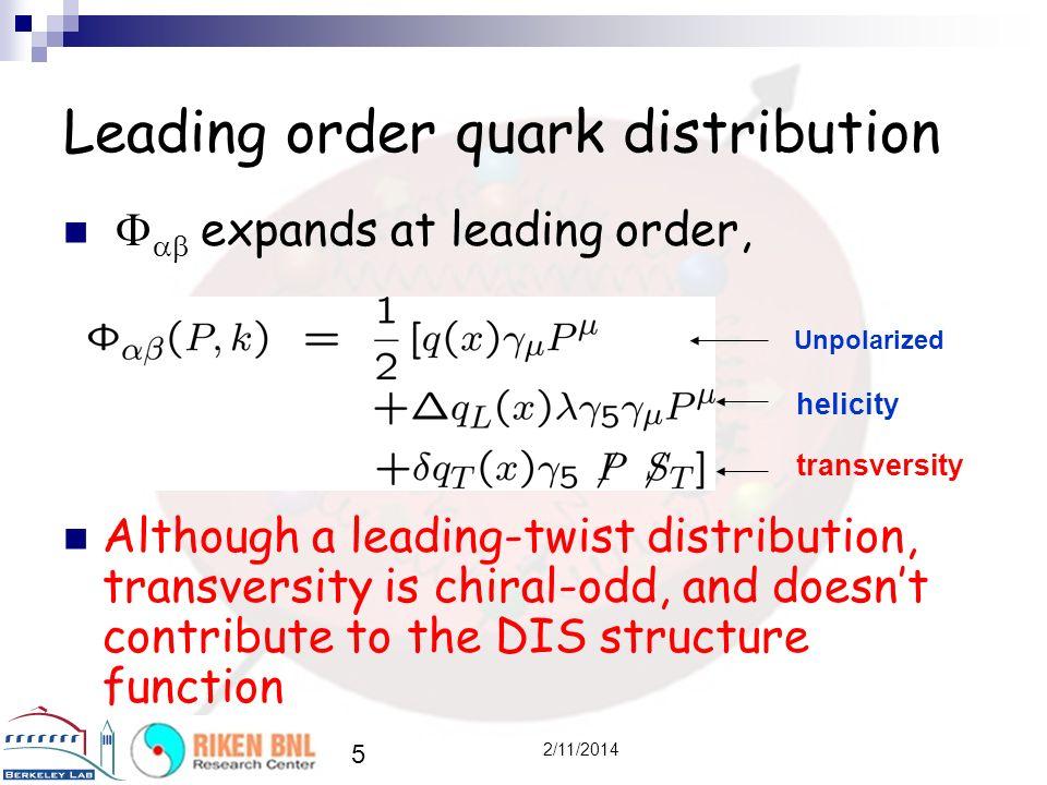 Leading order quark distribution