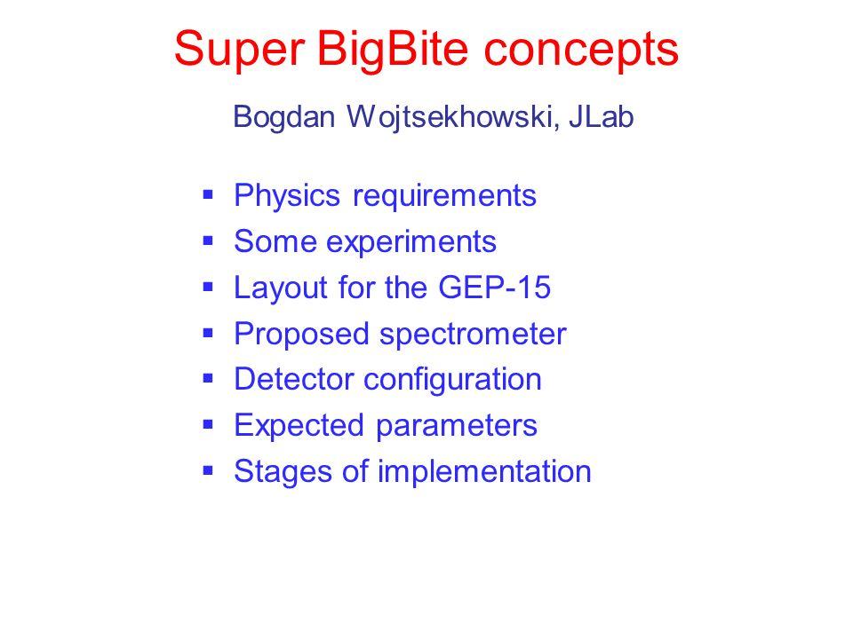 Super BigBite concepts Bogdan Wojtsekhowski, JLab