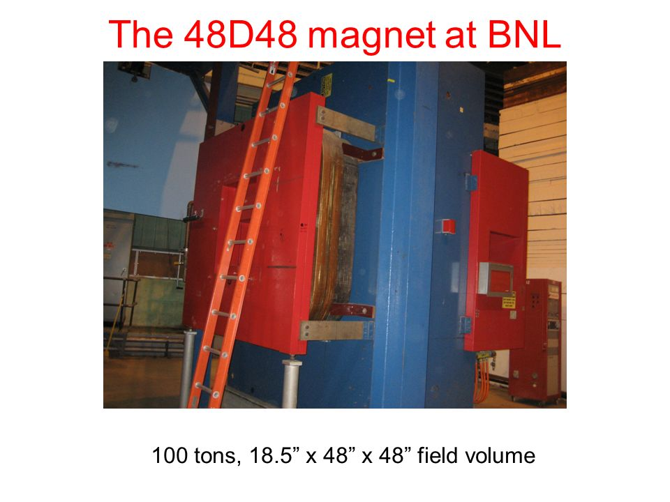 The 48D48 magnet at BNL 100 tons, 18.5 x 48 x 48 field volume