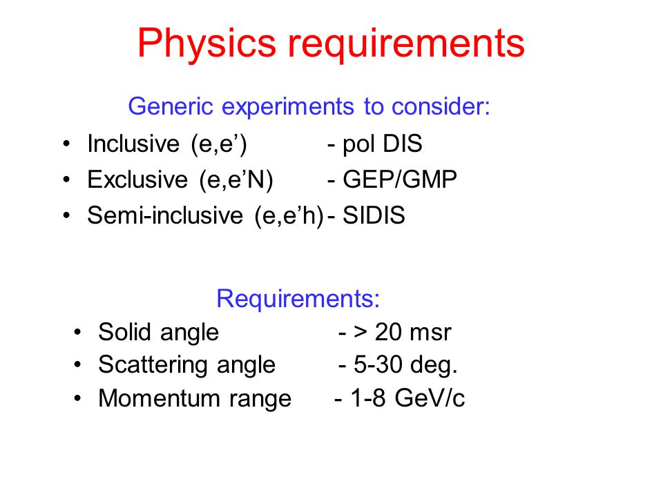Physics requirements Generic experiments to consider: Requirements: