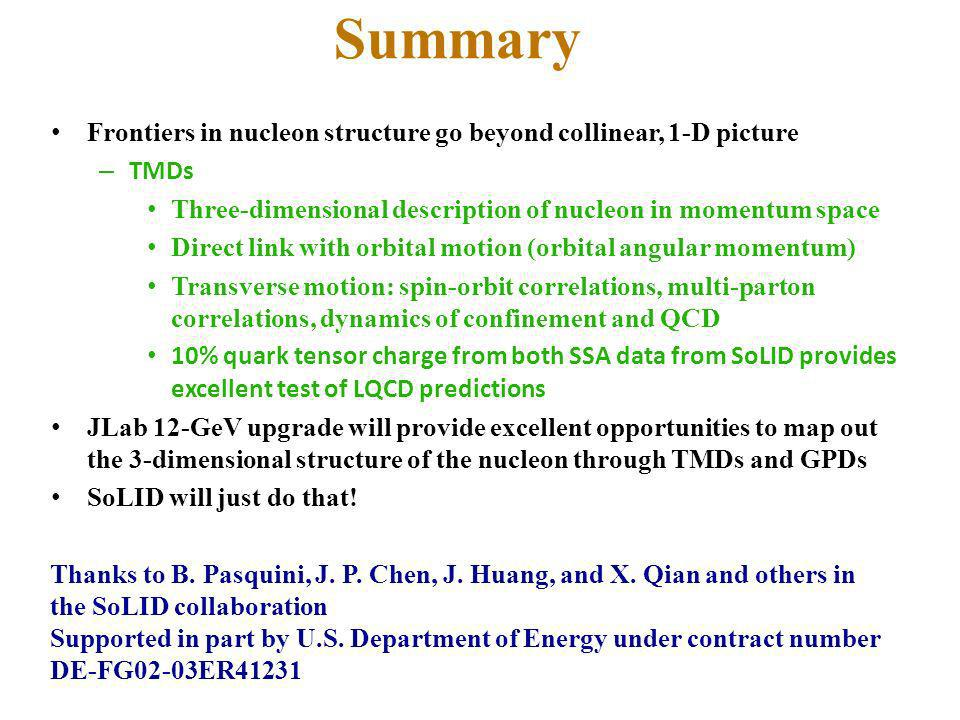 Summary Frontiers in nucleon structure go beyond collinear, 1-D picture. TMDs. Three-dimensional description of nucleon in momentum space.