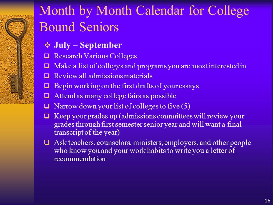 Month by Month Calendar for College Bound Seniors