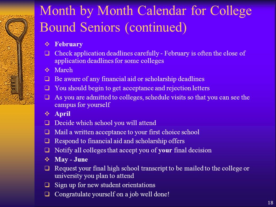 Month by Month Calendar for College Bound Seniors (continued)