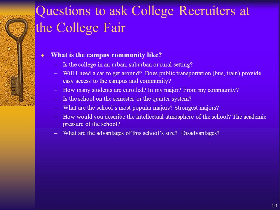 Questions to ask College Recruiters at the College Fair
