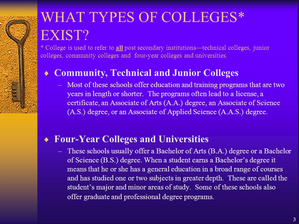WHAT TYPES OF COLLEGES. EXIST