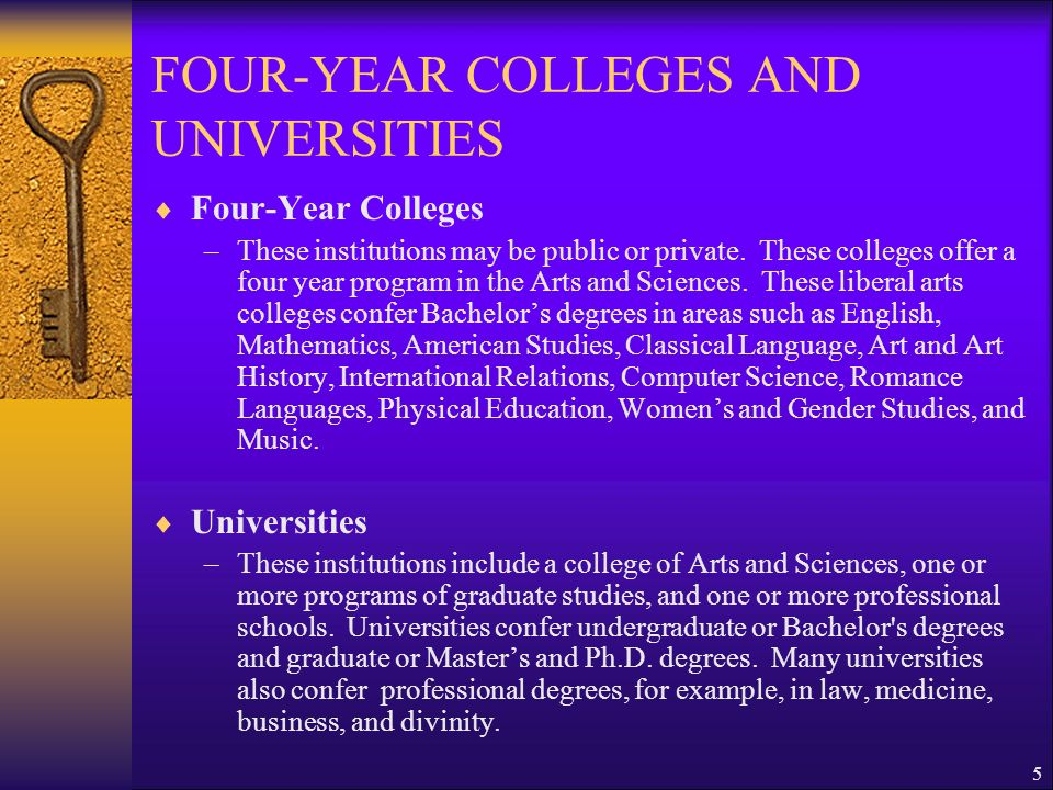FOUR-YEAR COLLEGES AND UNIVERSITIES