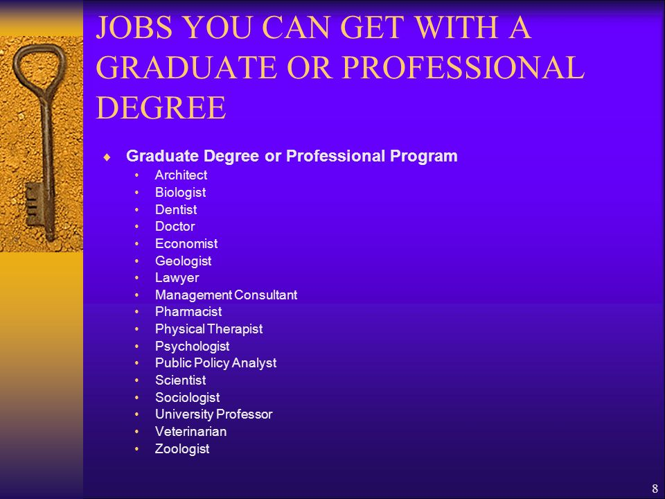 JOBS YOU CAN GET WITH A GRADUATE OR PROFESSIONAL DEGREE
