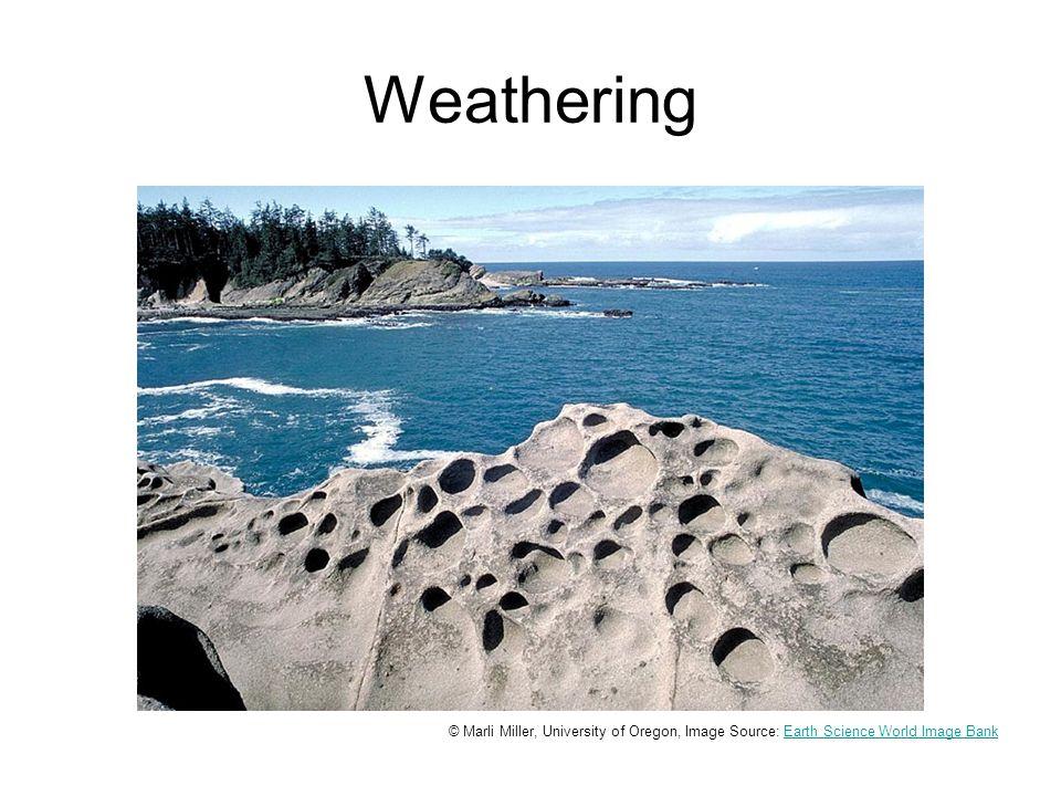 Weathering Honeycomb weathering. Solution features in sandstone.