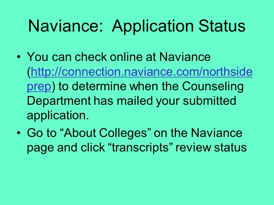 Naviance: Application Status
