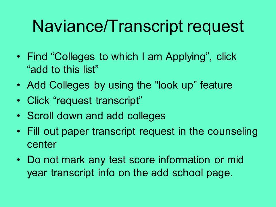Naviance/Transcript request