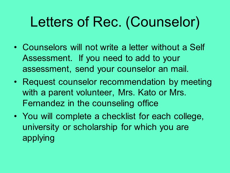 Letters of Rec. (Counselor)