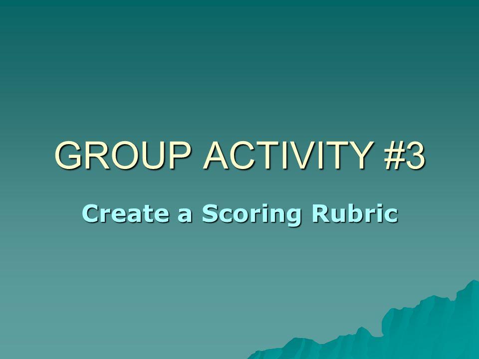 Create a Scoring Rubric