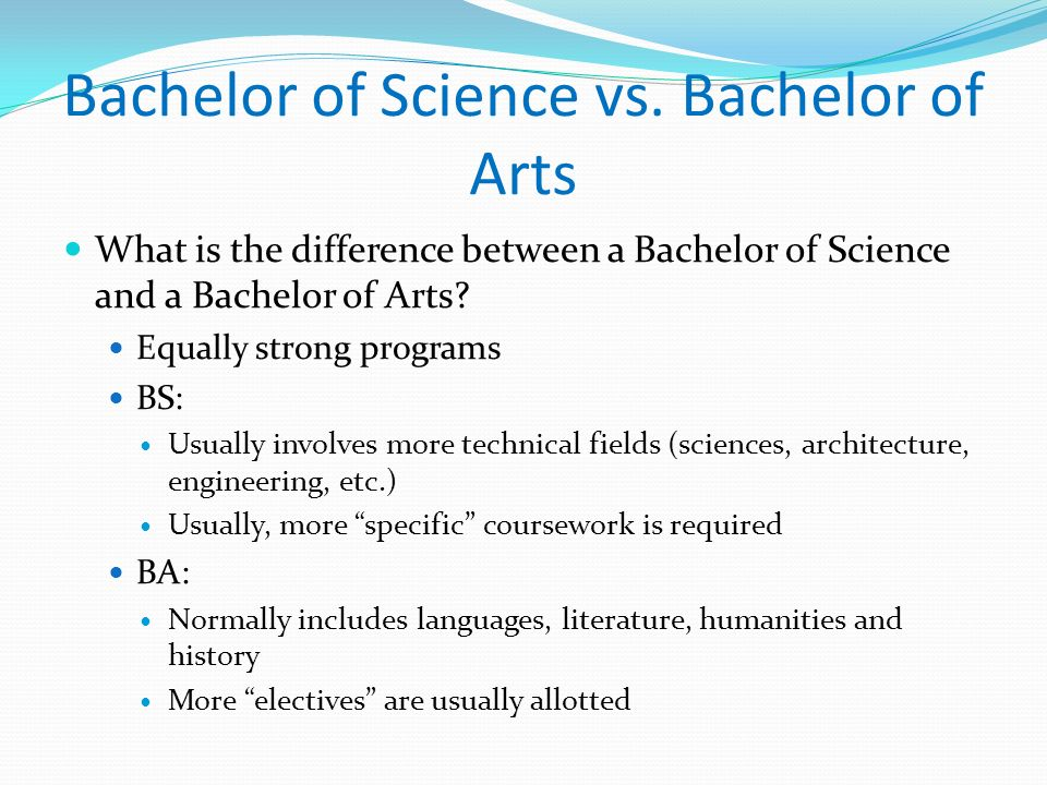 Bachelor of Science vs. Bachelor of Arts