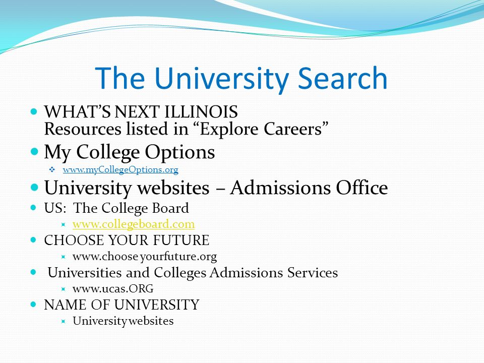 The University Search My College Options