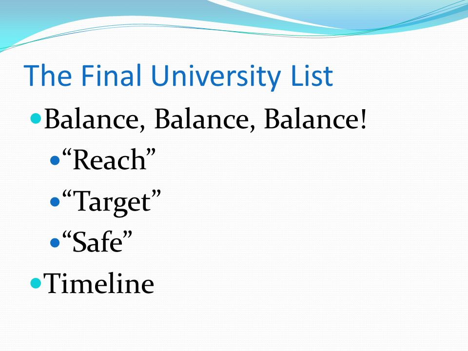 The Final University List