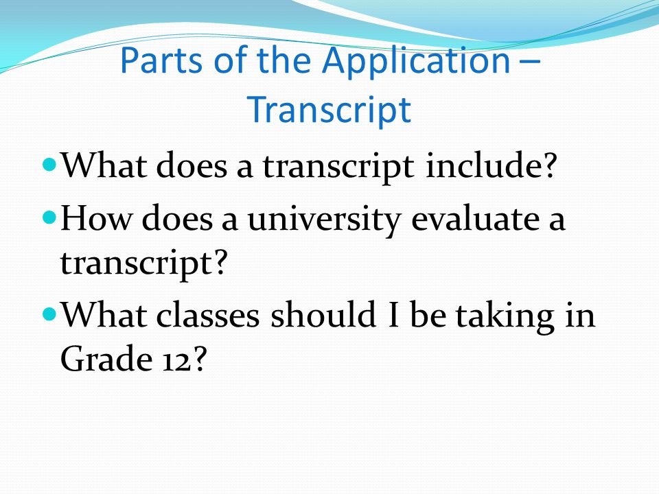Parts of the Application – Transcript