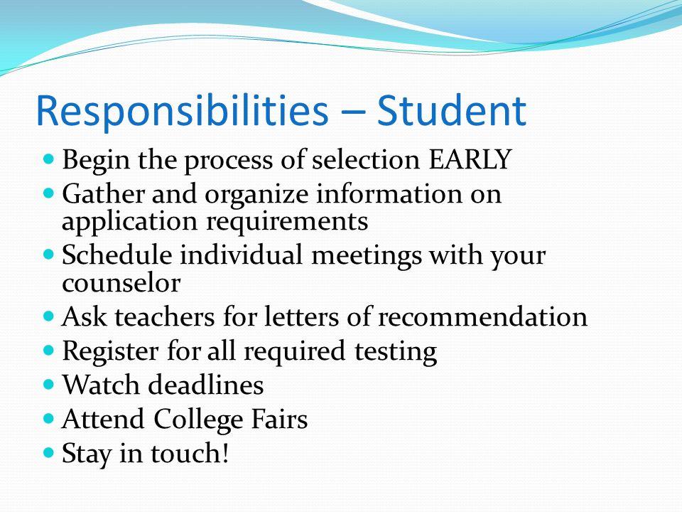 Responsibilities – Student