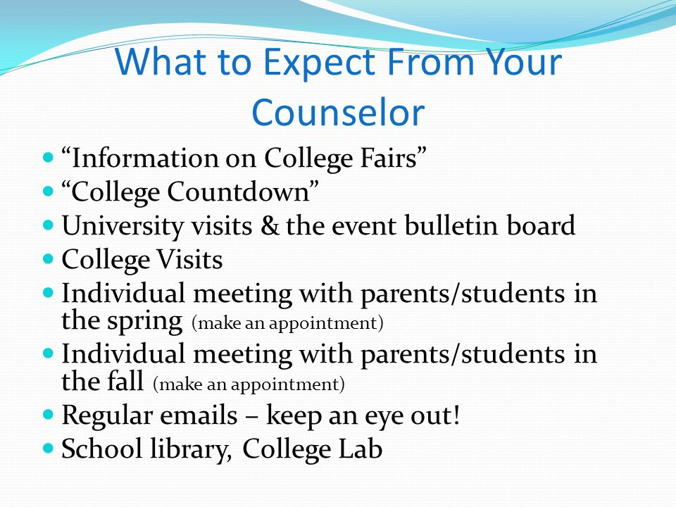 What to Expect From Your Counselor