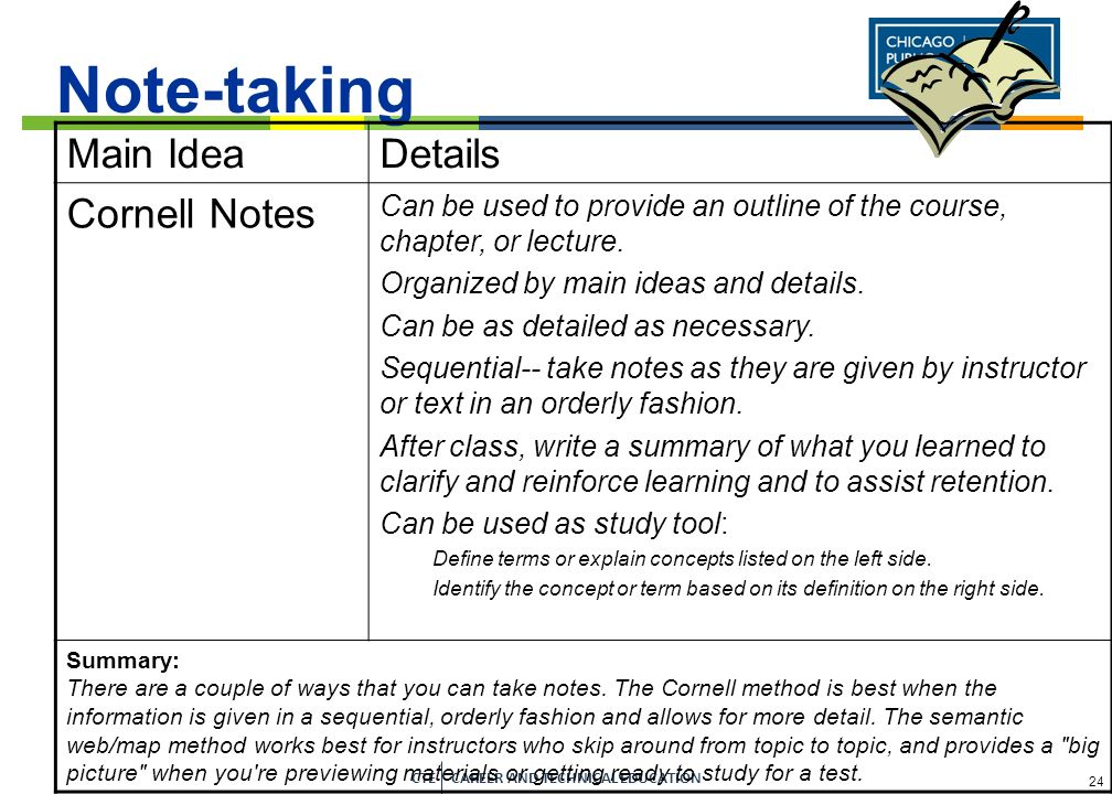 Note-taking Main Idea Details Cornell Notes