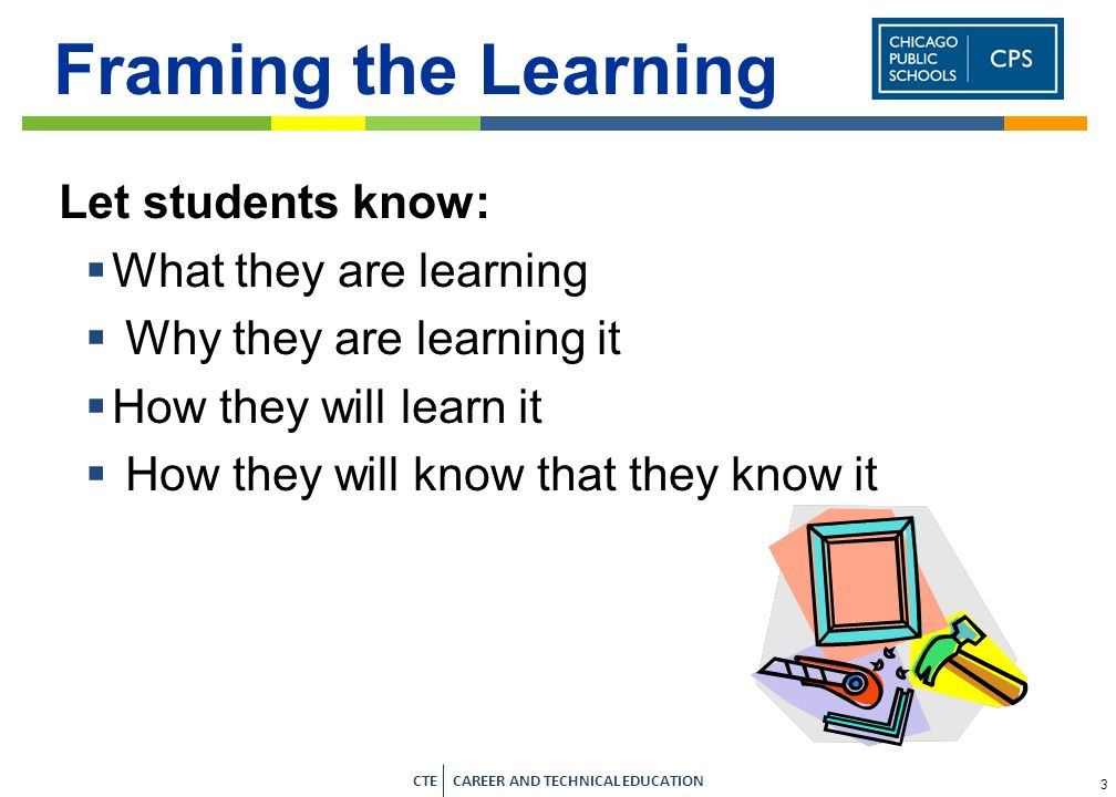 Framing the Learning Let students know: What they are learning