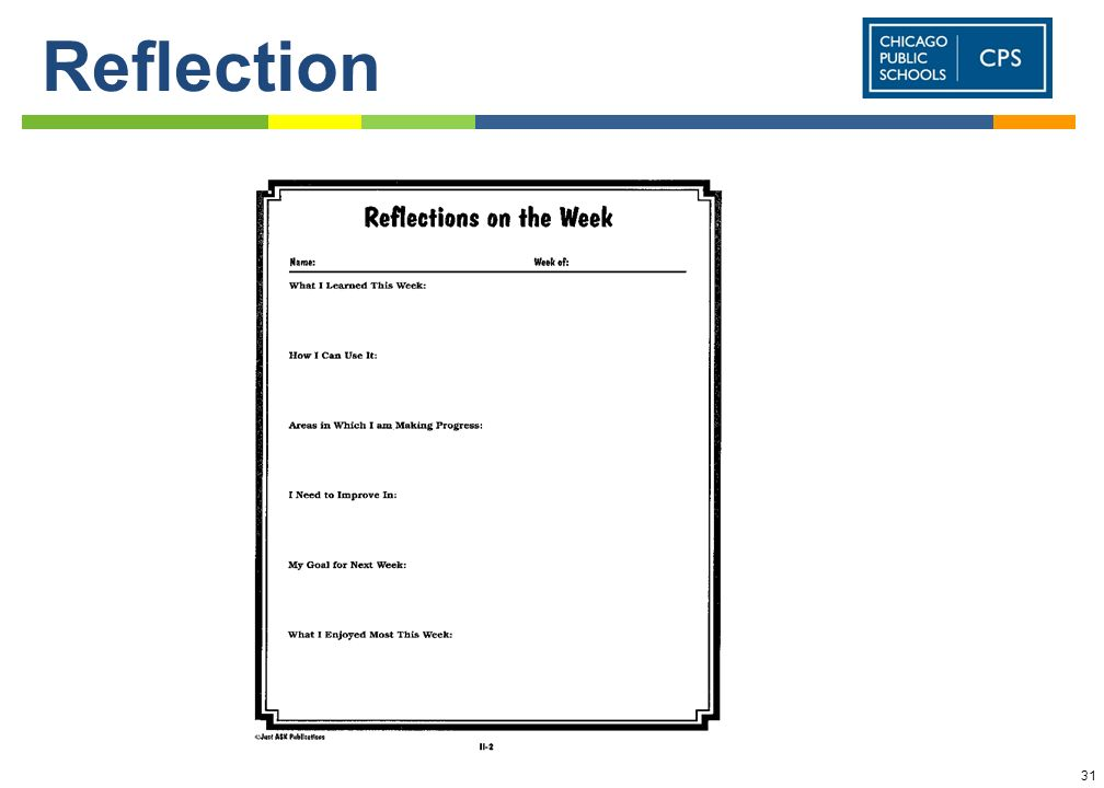 ReflectionThis is a god way to get students to think back to what was accomplished/learned during the week..