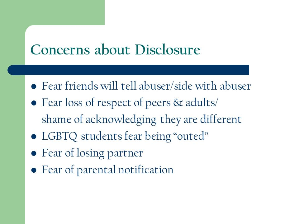 Concerns about Disclosure