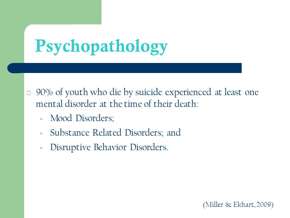 Psychopathology 90% of youth who die by suicide experienced at least one mental disorder at the time of their death: