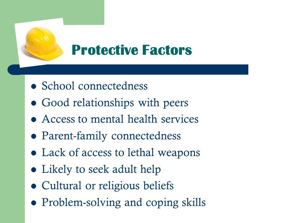 Protective Factors School connectedness Good relationships with peers