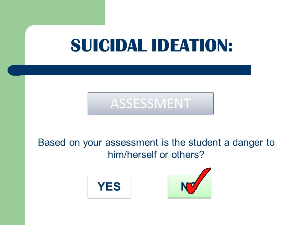 Suicidal Ideation: ASSESSMENT YES NO