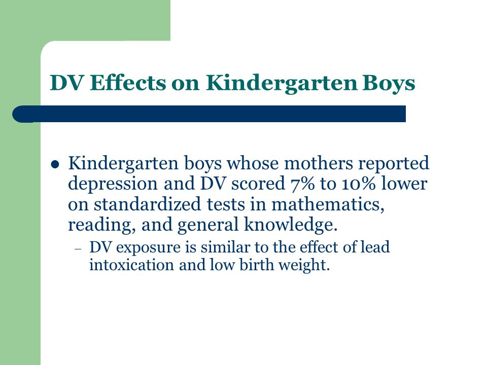 DV Effects on Kindergarten Boys