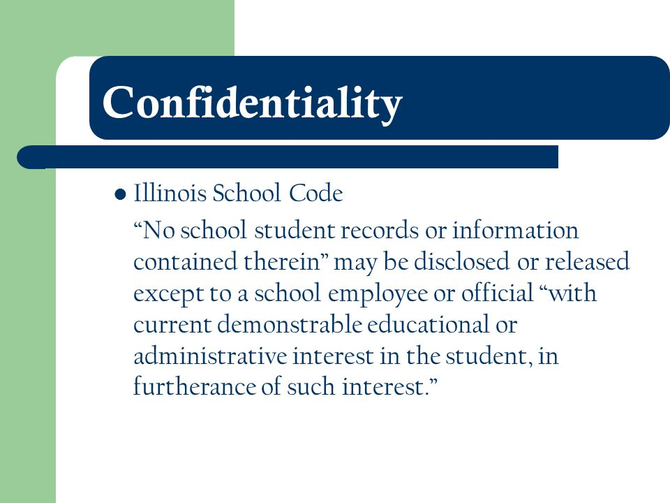 Confidentiality Illinois School Code