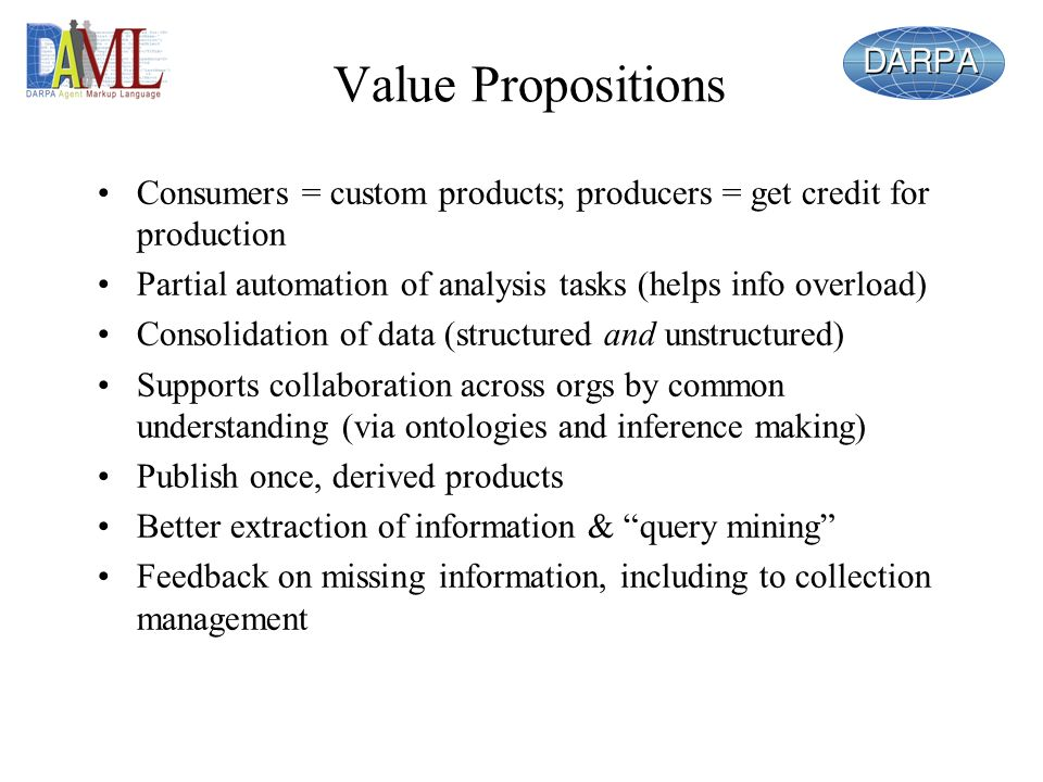 Value Propositions Consumers = custom products; producers = get credit for production. Partial automation of analysis tasks (helps info overload)