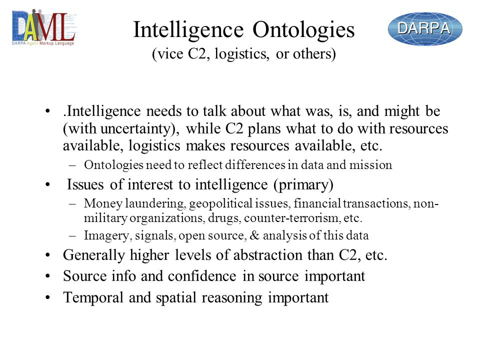 Intelligence Ontologies (vice C2, logistics, or others)